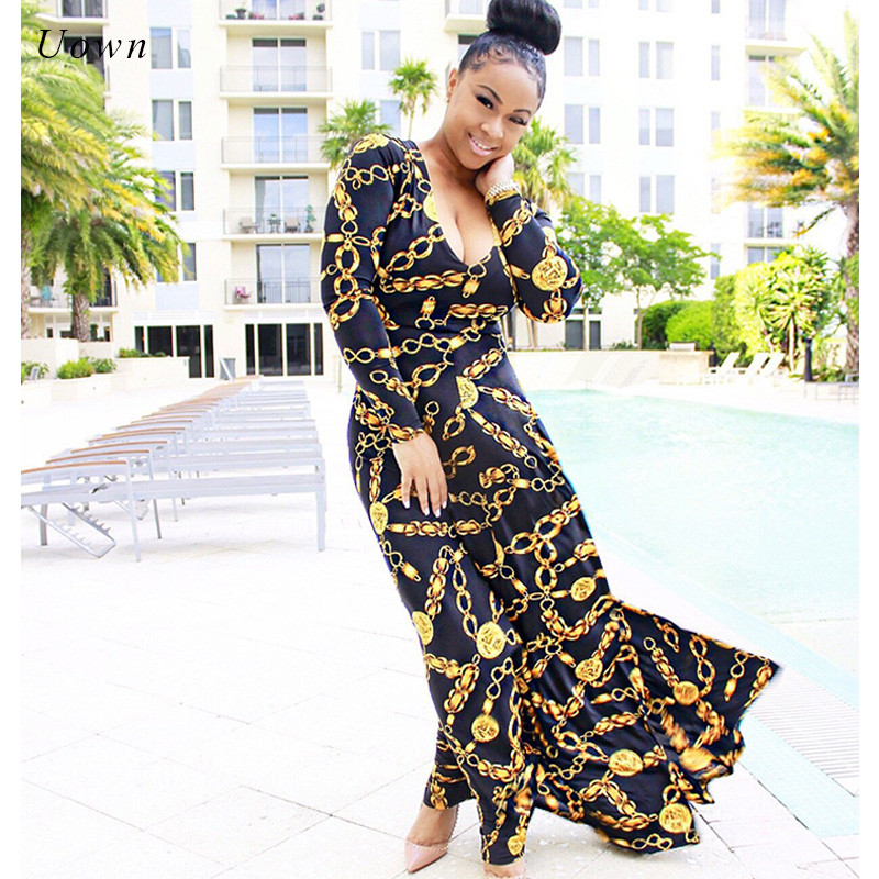 Traditional African Print Maxi Dress Women Long Sleeve V Neck Autumn Modern Style African Attire