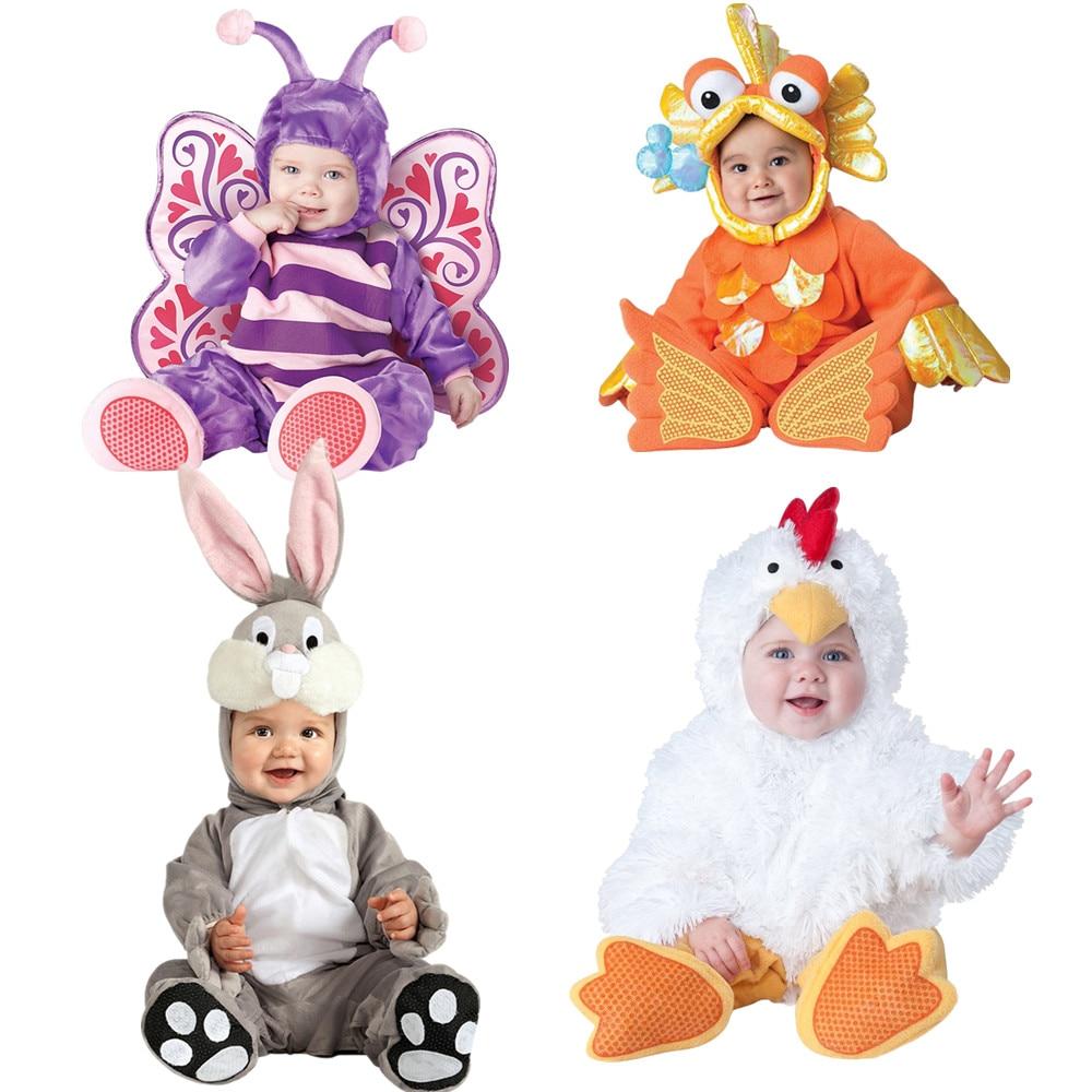 Bébé De Noël Halloween Cosplay Costume Papillons poisson rouge bugs bunny poussins Salopette Garçons Filles Vêtements Set Enfants Tenues