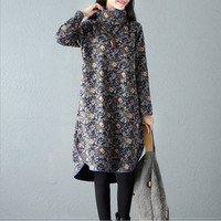 Ilstile Women Long Sleeve Floral Print Turtleneck Long Dress Velvet Basic Kaftan Cotton Casual Warm Dress