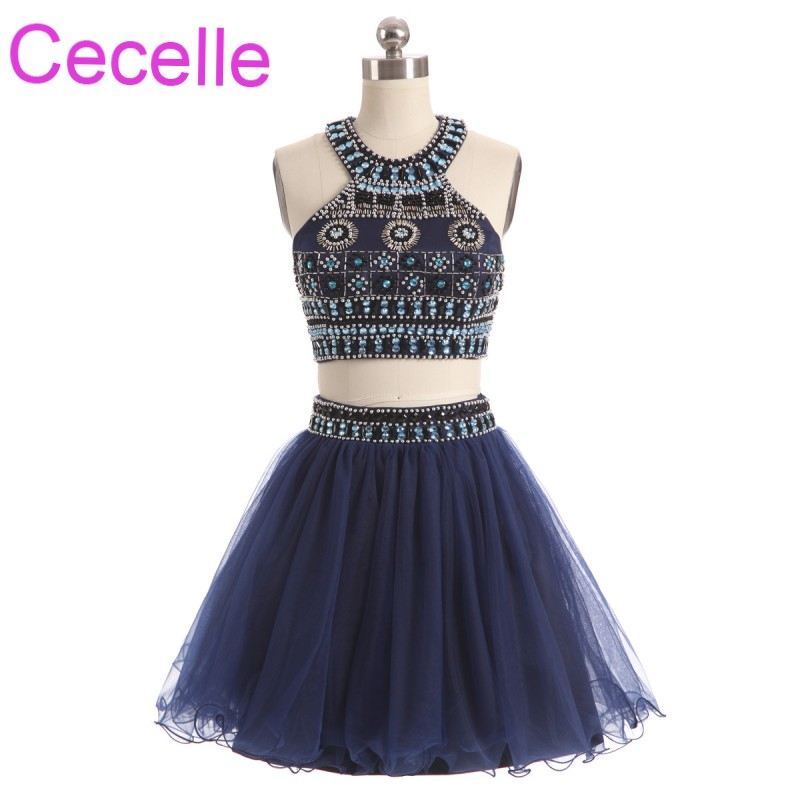 Navy Blue Two Pieces Short Cocktail Dresses 2019 Beading Top Tulle Teens Informal Cocktail Party Dresses Girls Short Prom Dress