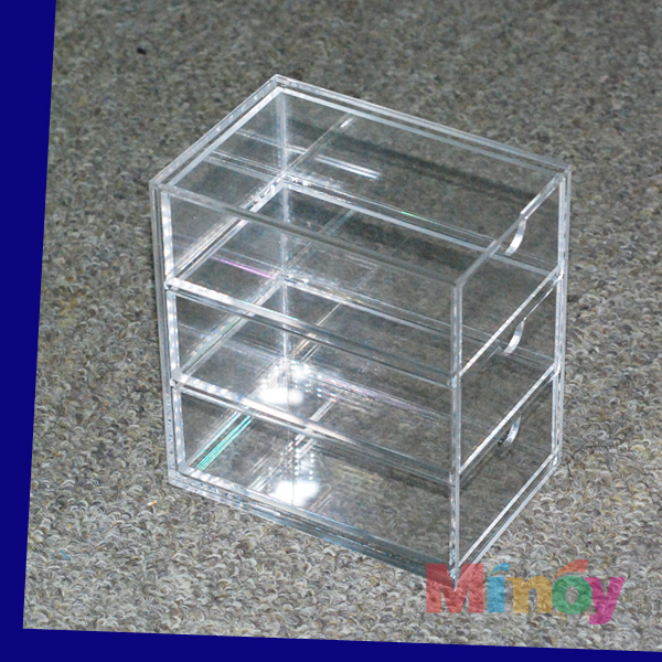 3 lattices clear rectangle acrylic Plastic Drawers storage box 8.8cm x 13cm x 14cm
