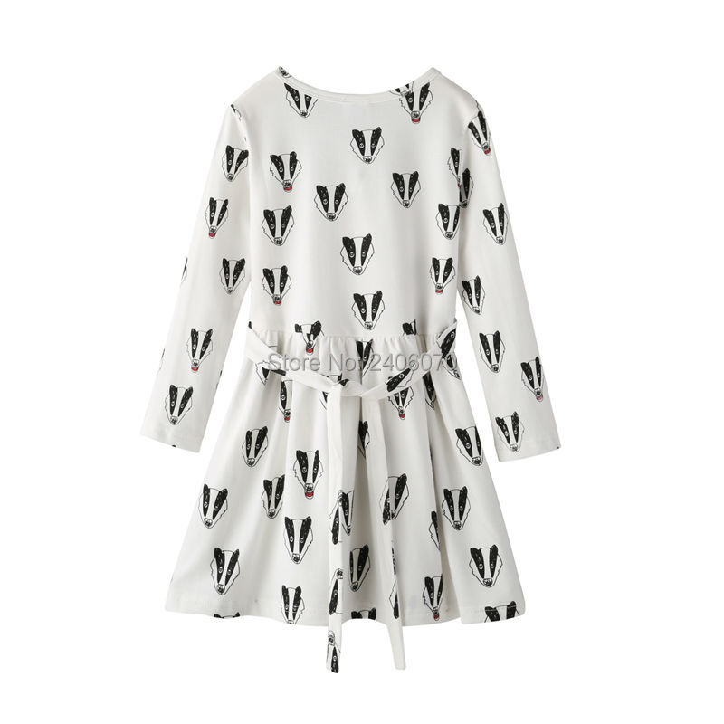 badger fox printed dress long sleeved offwhite Child Princess Costume ropa bobo choses new year Evening Winter girl clothing05