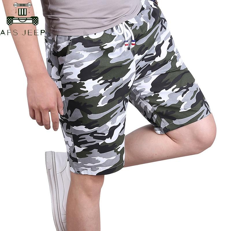 2019 Summer Cotton Camouflage Shorts Men Fashion Streetwear Elastic Waist Causal Military Style Beach Shorts Bermuda Masculina