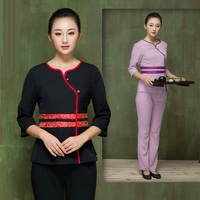 (1 set/lot)Preserve one's health SPA club uniforms beauty salon overalls long suit Beautician overalls new trousers full set