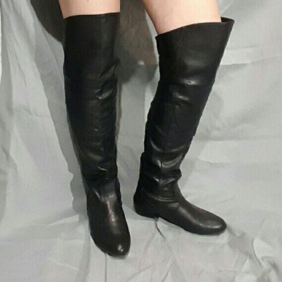 Elegant Fit Flat Long Boots Woman Favorite Black Leather -2385