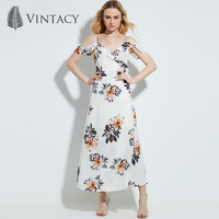 Vintacy 2017 Women Summer White Maxi Dress Floral Office Vacation Backless Casual V Neck Women Dresses