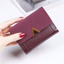 цены New Matte Leather Small Women Wallet Luxury Brand Famous Mini Women Purses Short Female Purse Credit Card Holder A127