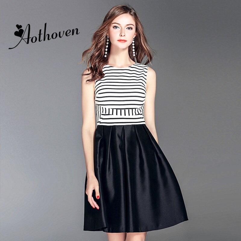 Nouveau Designer robes offre spéciale sans manches femmes rétro Patchwork rayé haut de gamme robe 2018 été débardeur o-cou a-ligne robe