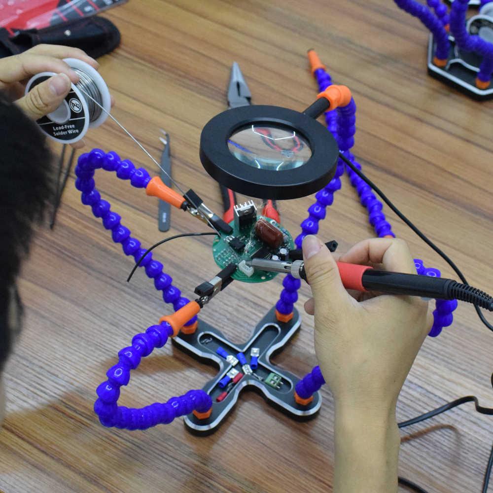 NEWACALOX сторонняя подставка для паяльника USB 3X подсветка Лупа сварка ремонт ручной инструмент увеличительное стекло паяльная станция