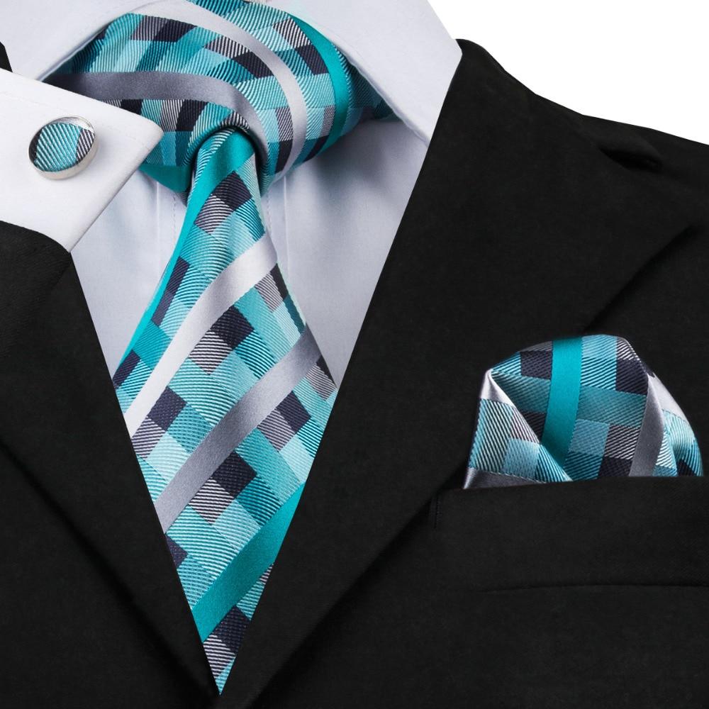 SN-553 Men's 100% Jacquard Woven Silk Neckties Tie Handkerchief Cufflinks Sets For Men Formal Wedding Party Groom Free Shipping