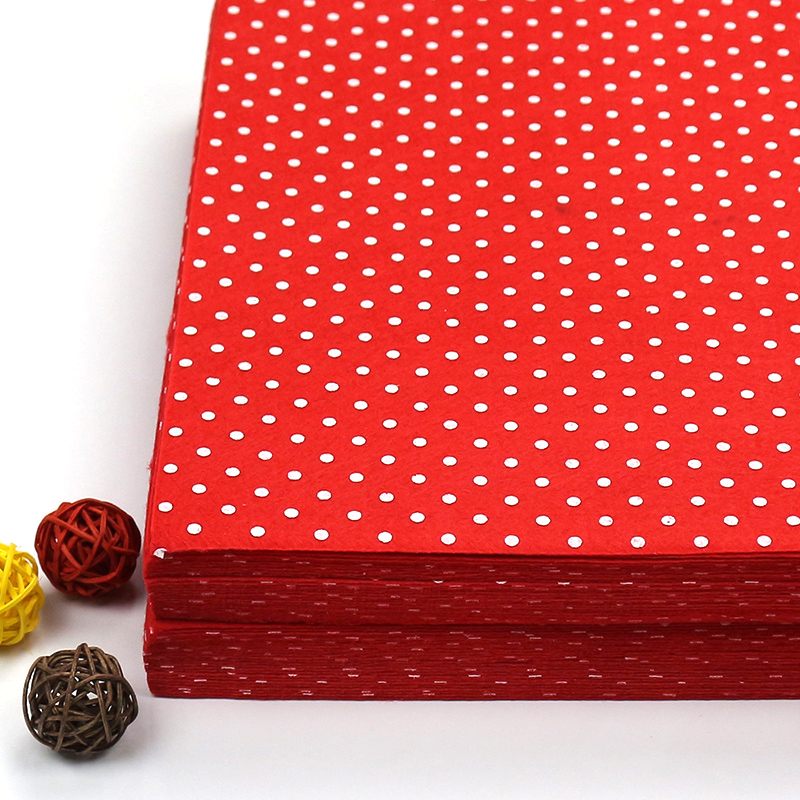 Solid Color Red Printed Felt 1mm Thick 100% Polyester Dot Printed Felt Fabric DIY Non-woven Handmade Craft Home Decor Supplies