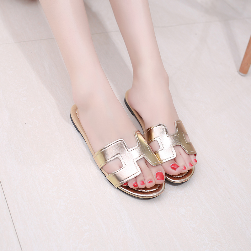 Slhjc 2017 Summer Leather Slippers Women Fashion Flat Heel Home Bedroom Luxury Shoes Beach