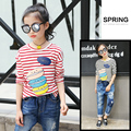 4 5 6 7 8 9 10 11 12 13t Girls Tees Striped Long Sleeve T-shirt For Teenagers Baby Tshirt Girls Tops Children Clothing