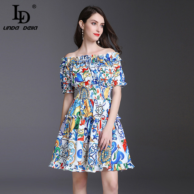 522632f8d0b LD LINDA DELLA 2018 Designer Summer Dress Women s Off the Shoulder Slash  neck Elastic waist Floral