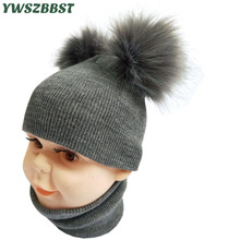 Solid Color Baby Hat Scarf for Boys Girls Autumn Winter Children set Kid Knit Cap New Fashion Beanie Caps fit 1-4Y