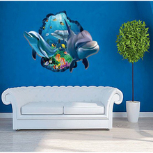 321132/Новые 3D наклейки на стену с дельфином, настенные наклейки для гостиной, телевизора, фона, креативные декоративные наклейки на морскую тематику, мультфильм