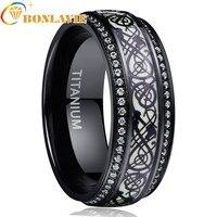 Black Dragon Luminous Titanium Steel Inlay White Zirconia Green Background Men's Stainless Steel Ring For Boyfriend Husband Gift