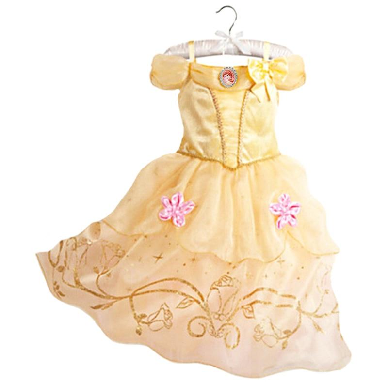 Belle платье для детей костюм Рапунцель праздничное свадебное платье костюм Детское платье принцессы для девочек Belle спальный Красота Аврора Костюм