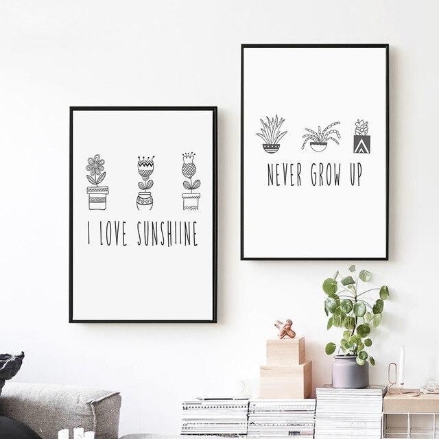 Kartun Tanaman Kaktus Hitam Putih Poster Gambar Dinding Seni Kanvas