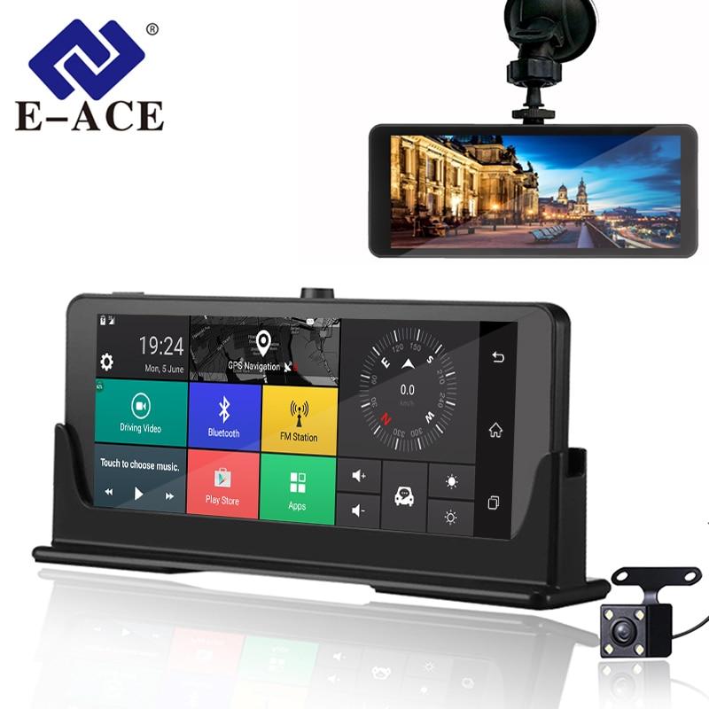 E-ACE E07 ADAS 4G Câmera DVR Carro HD 1080 P Gravador De Vídeo Android 5.1 GPS Navegação Controle Remoto Monitor de Caminhão traço Cam Dupla Câmeras