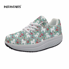 ФОТО instantarts women fitness toning swing shoes cute bichon frise/bull terrier/boxer flower printing slimming sneakers for ladies