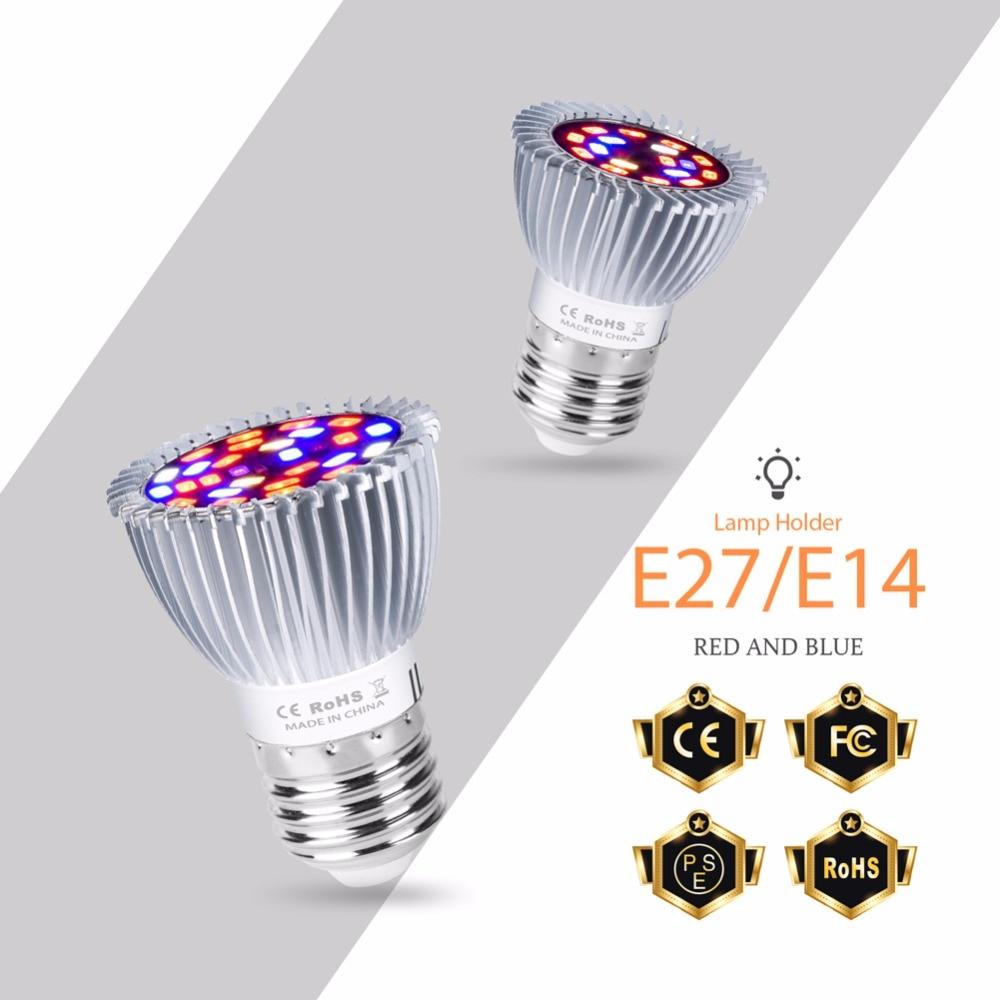 Светодиодный E27 завода светать 110 В 220 В полный спектр E14 светодиодный Фито лампы 18 28 светодиодный s 5730 красные, синие УФ лампы ИК горшок растен...