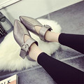High-grade Buckle Fashion Mature Women Flat Shoes Retro Harajuku Flats Pointed Toe Pu Leather Gun Color Shoes D109 35