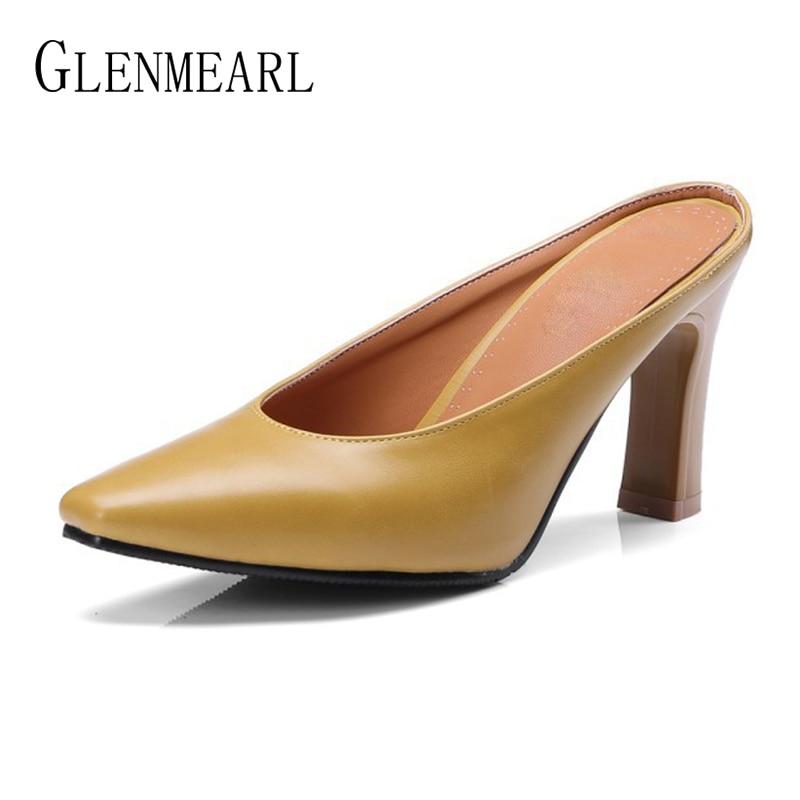 Կաշվե կանացի հողաթափեր բարձրակրունկ - Կանացի կոշիկներ