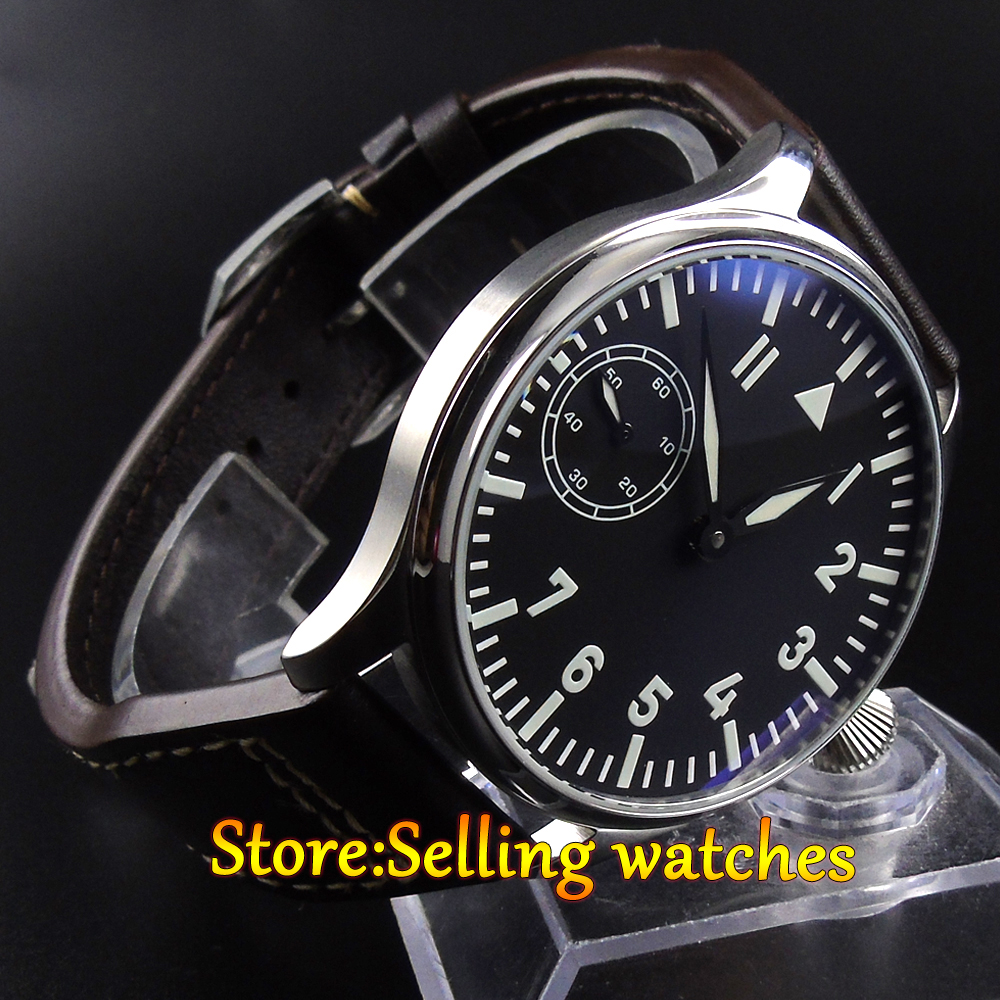 44mm Parnis black dial blue Luminous hand winding 6498 men's Watch 44mm parnis black dial luminous marks seagull 6498 hand winding mens watch