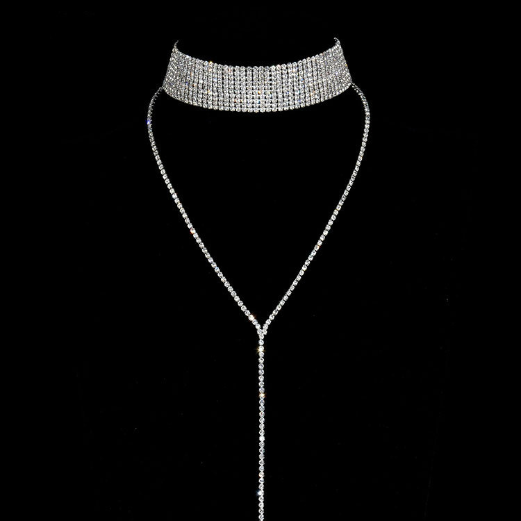 Eleple Fashion Long Multi-layer Full Stone Stainless Steel Necklaces Women Luxury Trendy Nightclub Party Gifts Jewelry S-N615-01