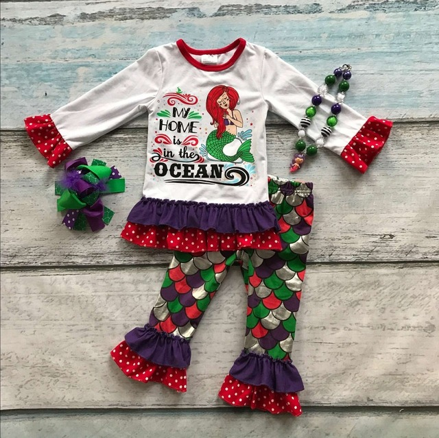 baby girls mermaid clothing children mermaid my home is in the ocean outfits girls boutique party cute outfits with accessoreis