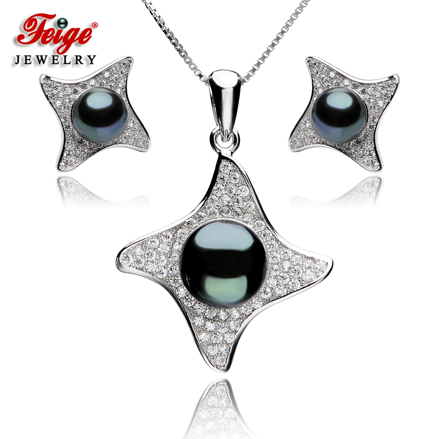 цена на 925 Sterling Silver Fine Jewelry Sets Natural Freshwater Pearls for Women Heart Shaped Black Pendant Necklace Earrings 8-9mm