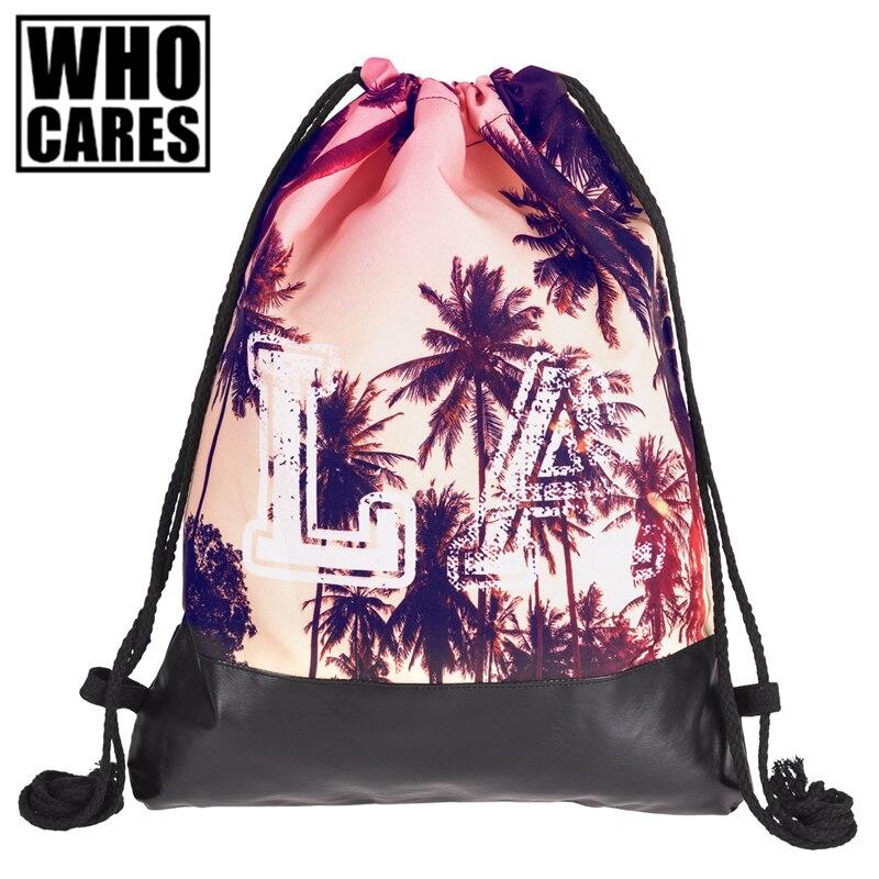 La Palms Printing Leather Bottom Backpack Women 2017 Brand New Summer Beach Men Travel Leisure Mochila Masculina Drawstring Bag рюкзак mi pac tropical palms tropical palms 081