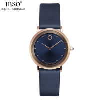 IBSO 7.6MM Ultra Thin Women Watches 2017 Fashion Waterproof Quartz Watch Women Luxury Genuine Leather Strap Montre Femme