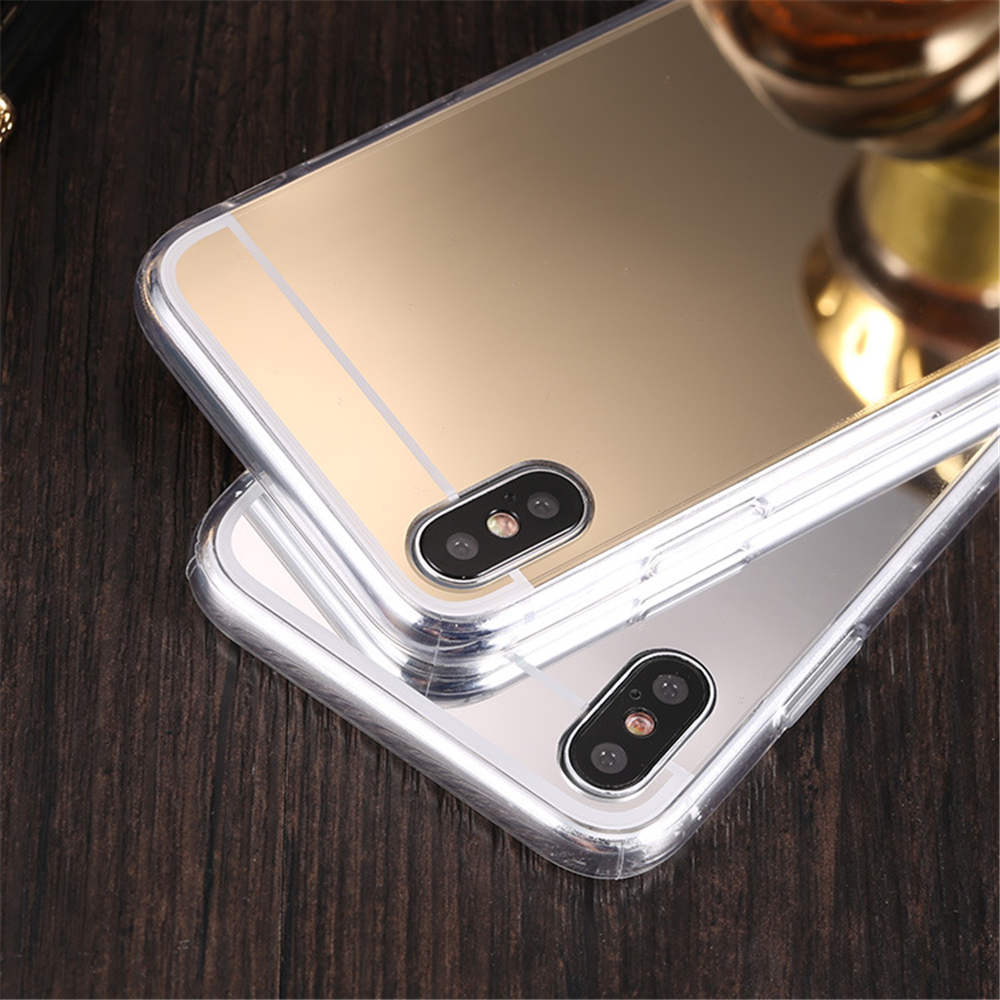 New Mirror For Iphone 66S 6P78 8P X Xs Xr Xsmaxtpu Pc Plated Mirror Tpu Case in Fitted Cases from Cellphones Telecommunications
