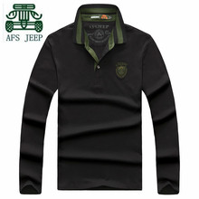 AFS JEEP Hot Sale 2016 Autumn Man's Casual Cotton Thick Polo Shirt,Wholesale Man's Brand Pullover Solid Loose Plus Size polo