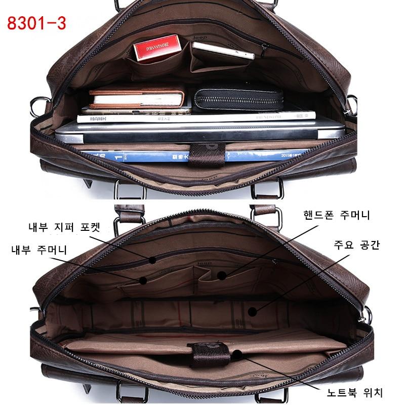 Image 5 - JEEP BULUO Men Briefcase Bag High Quality Business Famous Brand  Leather Shoulder Messenger Bags Office Handbag 14 inch  LaptopBriefcases