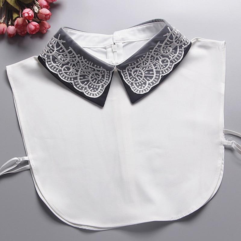 2017 Μπλούζα κεντημένο ψεύτικο κολάρο πουλόβερ χαριτωμένο κρύσταλλο κεντήματα λευκό πουκάμισο διακοσμητικό κορδόνι φέρει άγριο ψεύτικο πουκάμισο