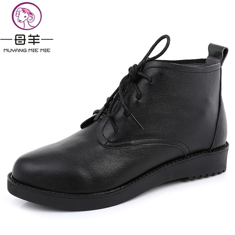 Moda Mie Muyang Tamaño Mujeres Cuero 34 Las 2018 Planos azul Zapatos De Negro 44 Plus Genuino Botas Mujer marrón wwZx41rqEd
