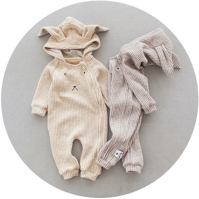 527bac04771 Newborn Baby Onesie Autumn Winter lace romper unisex clothes thick solid  colour cartoon rabbit baby boy girl jumpsuit clothing