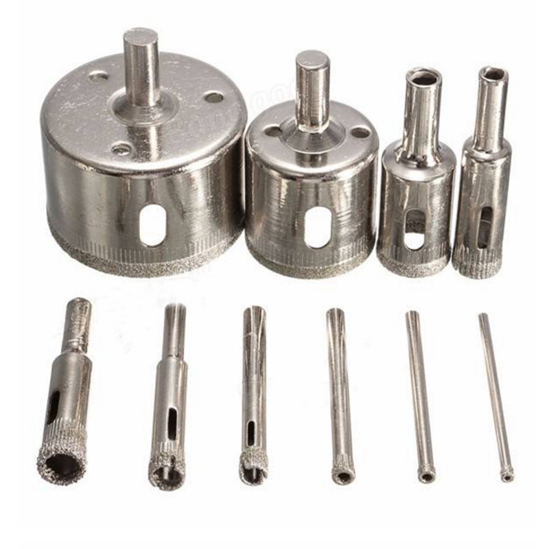 10pcs/set 3-50mm Diamond Drill Bit Hole Saw Set for Glass Ceramic Marble Tile Nickel Plated Core Drilling Top Quality best price 10pcs 3mm 50mm hole saw drill bit set diamond tile glass marble ceramic cutter power tool set