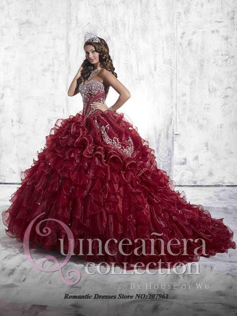 06fe1c6eb 2016 venta Caliente Del Vino Rojo Vestidos de Quinceañera balón vestido  para 15 años Del Amor