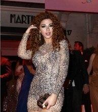 2015 Vestido De Festa Grau Perlen Kristall Sexy Short Mini Nachtclub Cocktail Party Celebrity Kleider Mit Langarm