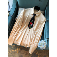 Svoryxiu Autumn High Quality Silk Blouse Tops Women's Manual Beading Small Tie Elegant Vintage Champagne Blouses Shirts