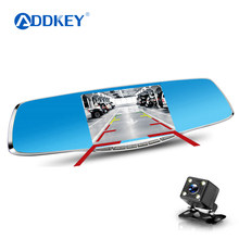 ADDKEY Full HD 1080P Car Dvr Camera Registrator 4.3 Inch Rearview Mirror Digital Video Recorder Dual Lens Registrar Camcorder(China)