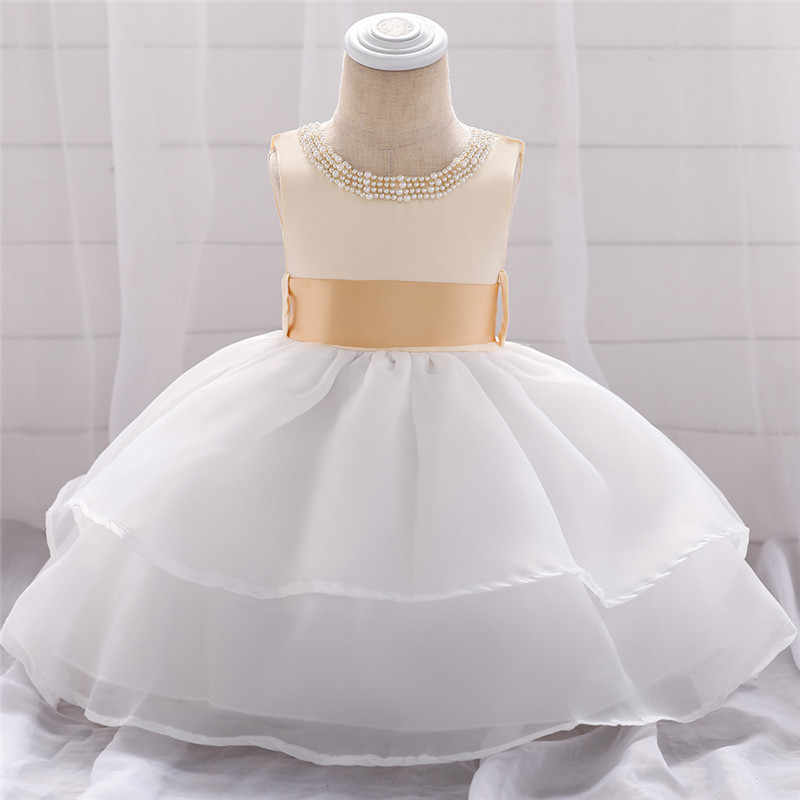 Платье для маленьких девочек Платье принцессы с жемчужинами для младенцев желтого цвета с цветочным принтом кружевная юбка-пачка платье для новорожденного, одежда для свадьбы, строгая одежда для вечеринки, дня рождения Одежда BW082
