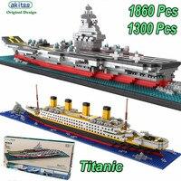akitoo 1206 1860pcs Cruise Ship Diamond Particles Titanic Building Bricks Block Kit 3D Boat Model Gift Compatible Lepine Creator