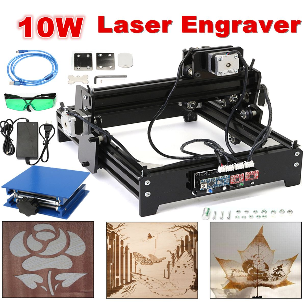 20 x 14 cm Engraving Area 10W USB Desktop Metal Stone Wood CNC Laser Engraver Marking Engraving Machine + Protective Glasses blue laser head engraving module wood marking diode 2 5w glasses circuit board for engraver wood metal plastic carving mayitr