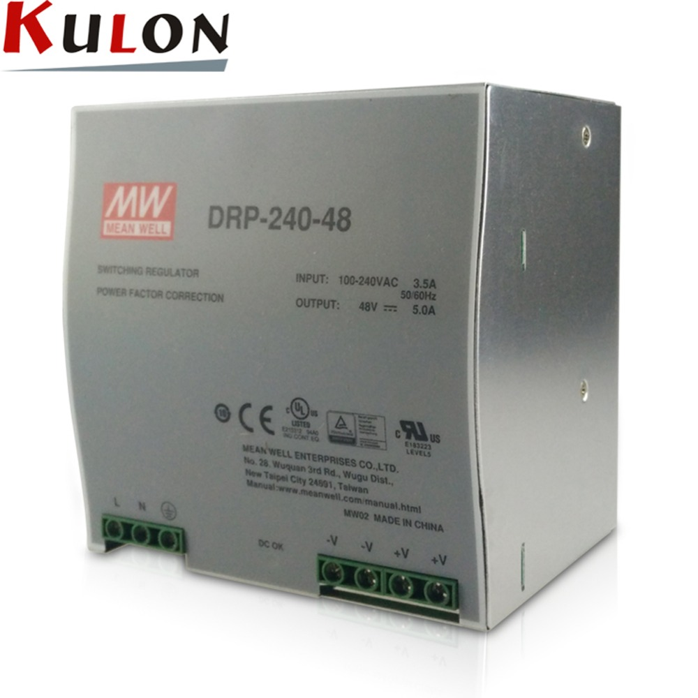 все цены на Original Meanwell DRP-240-48 240W 5A 48V Single Output Industrial DIN Rail Power Supply онлайн