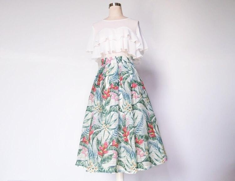 becerro Falda Cintura Xhsd Natural Llegada De A Flower Mujeres Elegante Nueva line 3210 Mediados Impresión Flor Aqz7nBwv4